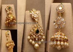 Latest Collection of best Indian Jewellery Designs. Gold Jhumka Earrings, Gemstone Earrings, Diamond Earrings, Diamond Jewellery, India Jewelry, Temple Jewellery, Indian Wedding Jewelry, Bridal Jewelry, Indian Weddings