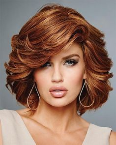 Hollywood & Divine by Raquel Welch Wigs - Remy Human Hair, Hand Tied, Lace Front, Monofilament Wig Remy Human Hair, Human Hair Wigs, Medium Hair Styles, Curly Hair Styles, Cheveux Oranges, Raquel Welch Wigs, Wig Hairstyles, Brown Hairstyles, Pretty Hairstyles