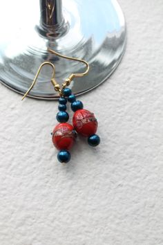 Beaded Earrings  with Blue Pearls and by HuckleberriesandRain, $9.00
