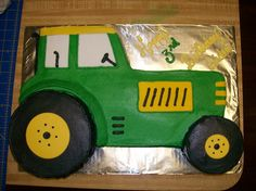 John Deere Tractor cake carved from sheet cake and 2 small 6 inch circle cakes used for wheels, one cut smaller for front wheel. Tractor Cupcakes, Tractor Birthday Cakes, 4th Birthday Cakes, Homemade Birthday Cakes, Harry Birthday, Boy Birthday, Circle Cake, Homemade Tractor, Novelty Cakes