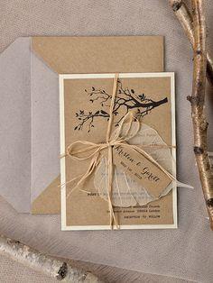 Daffodil plié Personnalisé Mariage Invitations Vintage Rustique Toile De Jute Style