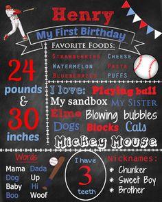 Baseball birthday chalkboard