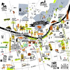 Love Santiago in Chile? This stylish illustrated map celebrates the capital, and features loads of the city's great landmarks. Available in a choice of sizes, the print would be perfect for any Chile residents, or visitors to the city. Framed Maps, Framed Art Prints, Easter Island, Map Design, South America Travel, Adventure Is Out There, Map Art, Rifle Paper, Places To Travel