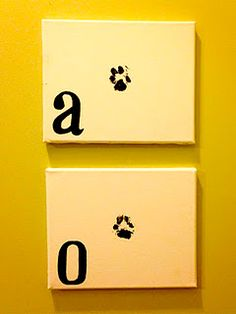 paw print with monogram. I'd love to get zeusys paw print! Cute Crafts, Diy And Crafts, Arts And Crafts, Paw Print Art, Small Canvas, Crafty Craft, Crafting, Diy Stuffed Animals, Diy Art