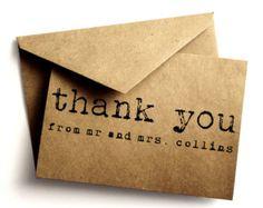 Thank you Kraft card - Kraft - Simple wedding thank you card - Handmade paper goods - Kraft card - Thank you - Paper goods - Sample