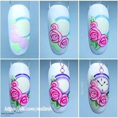 Heat Up Your Life with Some Stunning Summer Nail Art Rose Nail Art, Rose Nails, Flower Nail Art, Flower Nail Designs, Nail Art Designs, Nail Drawing, Yellow Nail Art, Nail Techniques, Nail Art For Beginners
