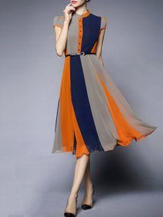 Blue Color-block Short Sleeve A-line Stand Collar Midi Dress