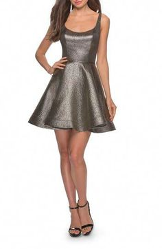 Shop a great selection of La Femme Metallic Fit & Flare Cocktail Dress. Find new offer and Similar products for La Femme Metallic Fit & Flare Cocktail Dress. Year 10 Formal Dresses, Casual Formal Dresses, Elegant Dresses, Sexy Dresses, Vintage Dresses, Fashion Dresses, Summer Dresses, Winter Dresses, Pretty Dresses