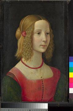 : Portrait d'une fille  Description : Probablement vers 1490  Auteur : Ghirlandaio Domenico (1449-1494) (atelier de)  Période : 15e siècle, Renaissance (période)  Technique/Matière : détrempe, peinture sur bois