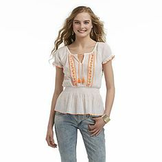 1b6fa25571fe3 Dream Out Loud by Selena Gomez Junior s Embroidered Peasant Top - Clothing  - Juniors - Tops