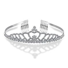 Bling Jewelry Heart Rhinestone Crystal Bridal Crown Tiara Silver Plated *** Check out this great product.(This is an Amazon affiliate link and I receive a commission for the sales) #Headbands