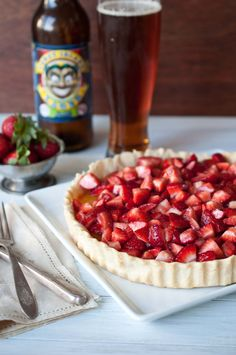 Drunken strawberry tart with lemon beer curd - three  of  my favorites rolled into one!