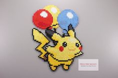 Perler and Artkal Fuse Bead Balloon Pikachu Inspired by