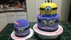Amy's Crazy Cakes - Minion Cakes, yellow and purple minion with smash cake