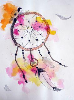 """Oeuvre sur papier """"Attrape-rêve 2"""" : Dessins par imea-creations"""