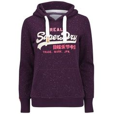 Superdry Women's Vintage Logo Duo Nep Hoodie - Aubergine (£50) ❤ liked on Polyvore
