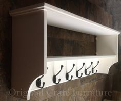 Hat & coat rack with shelf. Painted wall mounted solid wood
