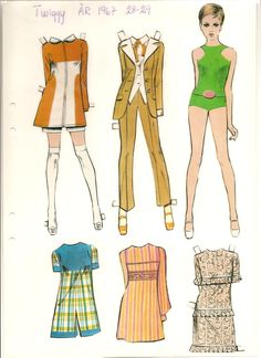 Twiggy, 1967 * The International Paper Doll Society by Arielle Gabriel for all paper doll and paper toy lovers. Mattel, DIsney, Betsy McCall, etc. Join me at ArtrA, #QuanYin5 Linked In QuanYin5 YouTube QuanYin5!