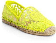 Love this: Genny Lace Espadrille Flats Neon Accessories, Lace Espadrilles, Lace Overlay, Rebecca Minkoff, Sunglasses Case, Flats, Yellow, Leather, Shoes