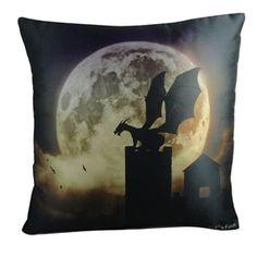 Gothic Home Decor Dragon Pillow Silhouette Castle Guardian Julie Fain