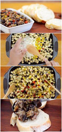 Receita de Antepasto de Berinjela Super Fácil, ótimo para acompanhar aperitivos. #receita #gastronomia #culinaria #comida #delicia #receitafacil #cozinha #salada #acompanhamento #antepasto #receitadeantepasto #antepastodeberinjela Antipasto, Canapes, No Cook Meals, Finger Foods, Health Fitness, Low Carb, Pasta, Vegetables, Cooking