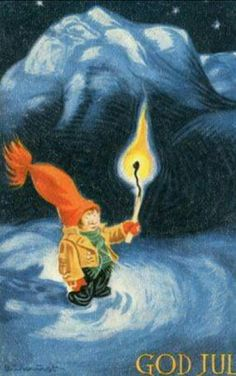 Kjell Aukrust Back In The Day, Elves, Norway, Woodland, Christmas Postcards, Retro, Illustration, Prints, Fun