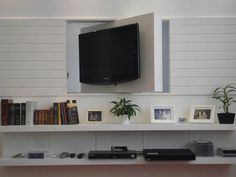 painel giratorio para tv - Para sala e dormitório de visitas/ sala. Dá pra embutir isso numa porta de correr?