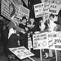 1946: Women from the United Electrical Workers on strike for equal pay in Pittsburgh. | 13 Photos Of Women Fighting For Equal Pay Throughout History