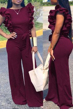 Lovely Casual Lace-up Flounce Design Wine Red One-piece Jumpsuit Dressy Outfits, Night Outfits, Summer Outfits, Cute Outfits, Fashion Outfits, Backless Jumpsuit, Elegant Jumpsuit, Mode Kimono, African Print Fashion