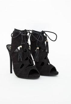 Valentina Lace Up Tassel Heeled Sandals Black - Shoes - Missguided