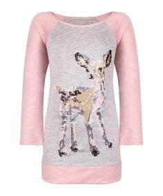 Mia Belle Girls Pink & Gray Sequin Deer Raglan Top - Toddler & Girls | zulily