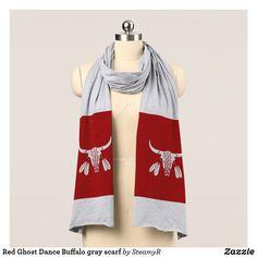 Red Ghost Dance Buffalo gray scarf