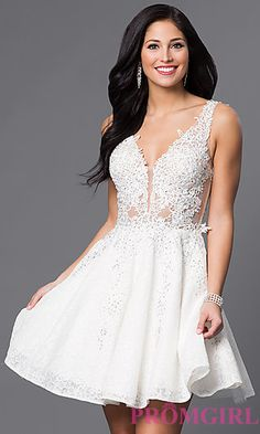 JVN by Jovani Short Lace Homecoming Party Dress at PromGirl.com