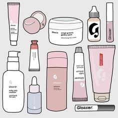 ️ A full Glossier illustration, because can't wait for the brand to ship to France 💕 . Bubble Stickers, Cool Stickers, Printable Stickers, Laptop Stickers, Makeup Stickers, Homemade Stickers, Journal Stickers, Planner Stickers, Cute Doodles