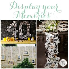 Anniversary Party Ideas- Pictures in the shape of 40 & have balloon photo shoot for new pics!