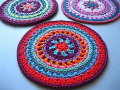 Mandala Wheels free #crochet pattern from Lucy of Attic24