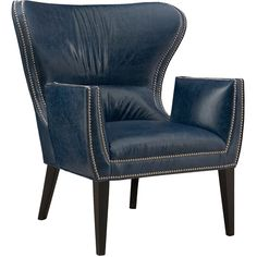 Gustav Leather Chair ($2,783) ❤ liked on Polyvore featuring home, furniture, chairs, accent chairs, blue, interior, blue chair, nailhead accent chair, nailhead chair and handcrafted furniture