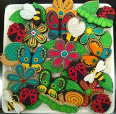 Bugs, butterflies and flowers cookie set