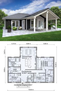 Country-style corner bungalow Scandinavian with wood facade & 4 bedroom ground floor . - Corner bungalow in country style Scandinavian with wood facade & 4 rooms floor plan at ground level - design fassade Country House Interior, Country House Plans, Country Style Homes, French Country House, Small House Plans, House Floor Plans, Country Houses, Bedroom Country, Country Cottages