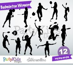 Badminton Women Silhouette, instant download, PNG, JPG, SVG, eps files Ps-162