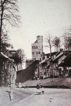 Voerweg met rechts de huizen op het Sint Geertruidsbergje. Op de achtergrond de Belvédère, vóór de restauratie door stadsarchitect J.J. Weve in 1887-1888. De foto is mogelijk nog genomen voor de sloop van de stadsmuren in 1880.