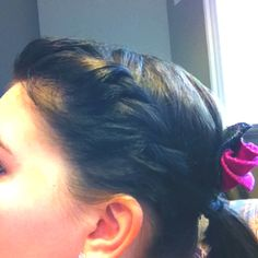 French twist with ponytail and a cute DIY flower! Made for easy hairdo after hours of cleaning. :)
