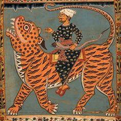 British Museum  #antique #tiger #18century #India #colors #composition #blahblah #probablyminiature #traditionalcostume #snake #beads #blockprint #fashion #turbans