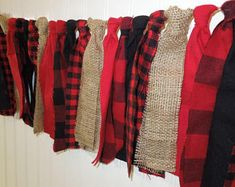 Buffalo Plaid Garland, Black Red and Burlap, Scrappy Banner, Woodland Banner, Birthday Banner, Baby Shower. Lumberjack Party, Window Valance