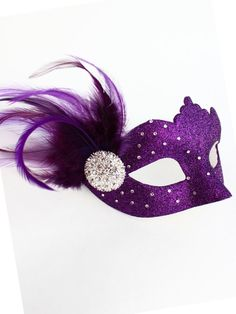 Handmade unique women's masked ball mask with purple glitter, purple feathers, diamante & Swarovski Crystals. Masquerade Ball Party, Venetian Masquerade Masks, Masquerade Costumes, Purple Halloween, Halloween Masks, Mascarade Mask, Purple Glitter, Pink Purple, Beautiful Mask