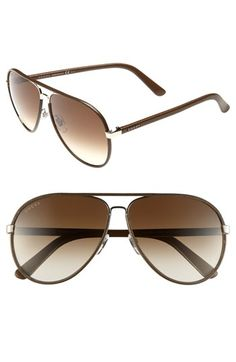 Gucci 61mm Leather Frame Aviator Sunglasses | Nordstrom