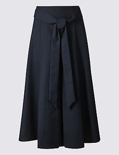Cotton Rich Tie Detail A-Line Midi Skirt