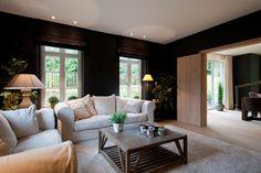 Stijlvol - witte bank voor donkere muren , houten vloer brengt warmte