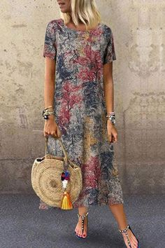 Shopping Round Neck Short Sleeve Forest Printed Maxi Dress online with high-quality and best prices Maxi Dresses at Luvyle. Cute Formal Dresses, Modest Dresses, Elegant Dresses, Pretty Dresses, Casual Dresses, Dresses For Work, Summer Dresses, Sexy Dresses, Wrap Dresses