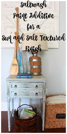 Saltwash Furniture Makeover. Saltwash paint additive can be added to ANY brand or type of paint. It gives the appearance of weathered, worn, salty, sun bleached and crusty. Super easy to use product! - 2 Bees in a Pod
